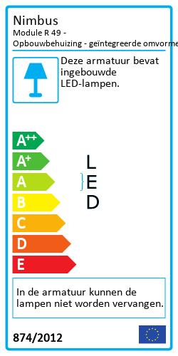 Module R 49 - Opbouwbehuizing - geïntegreerde omvormerEnergielabel